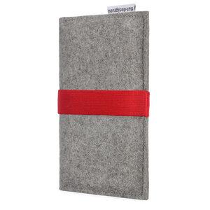 Handyhülle AVEIRO für Apple iPhone - 100% Wollfilz - hellgrau - flat.design