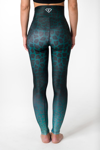 Yoga Leggings GREEN LEOPARD Damen Yogahose aus komfortablen Stretchmaterial - Yoga Hero