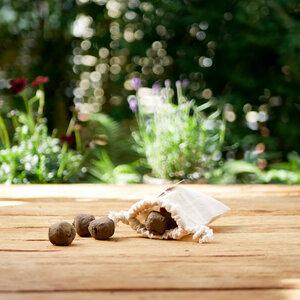 Guerilla-Kugeln, 5 bienenfreundlichen Samenbomben im Leinensäckchen - ingegerd Ökolifestyle