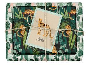 "Veganes Geschenkpapier Set ""Leopard/tropisch"": 4x Bögen + 1x Grußkarte (V-Label zertifiziert, Blauer Engel, Recyclingpapier) - dabelino"