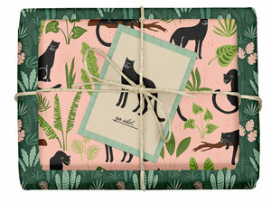 "Veganes Geschenkpapier Set ""Panther/tropisch"": 4x Bögen + 1x Grußkarte (V-Label zertifiziert, Blauer Engel, Recyclingpapier) - dabelino"