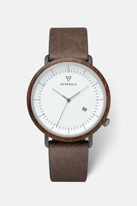 Herrenuhr mit Holzkorpus 'CLEMENS RECYCLED LEATHER' - Kerbholz