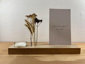 Kartenständer mit Teelichthalter und Trockenblumen - b.y.r.d.