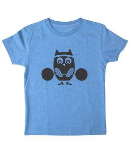 päfjes - Eule Günni macht Sport - Fair Wear Bio Kinder T-Shirt - Blau - päfjes