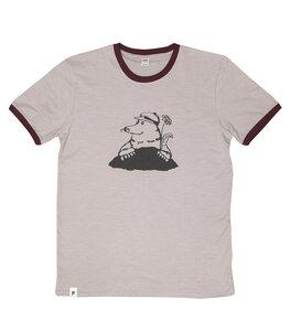 Marlene Maulwurf - päfjes Ringer Unisex T-Shirt - Fair gehandelt aus Baumwolle Slub - Bio - taupe - päfjes