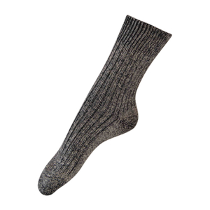 Hirsch 3er Pack Longlive Socke aus Baumwolle/Leinen in schwarzmeliert - hirsch natur