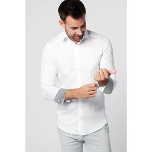 Nachhaltige Langarm Herren Hemd Shadow White - SKOT Fashion