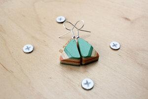 Ohrringe aus Holz , Ohrringe aus Skateboards , Skateboard earrings - Skatan-llc