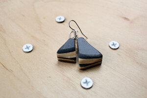 Ohrringe aus Holz , Ohrringe aus Skateboards, Skateboard Schmuck - Skatan-llc