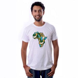 """Africulture T-Shirt """"Kanga Africa"""" mit kenianischer Kanga Stoff Applikation - Africulture"""