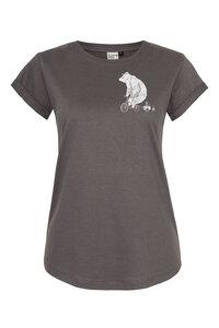 Frauen T-Shirt Halfbird Bär auf Rad, Made in Kenia aus Biobaumwolle dunkelgrau - ilovemixtapes