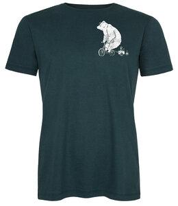 Biofaires Halfbird Bär auf Rad Men Shirt _ teal / ILK01 Made in Kenia - ilovemixtapes