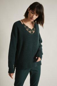 Pullover mit V-Ausschnitt GOTS Forest Schurwolle und Baumwolle GOTS - LANIUS