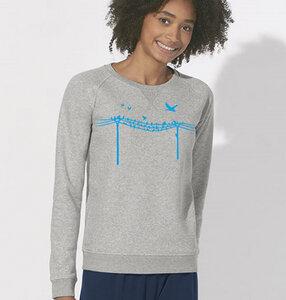 Vögel auf Elektromast / Grau & Blau/ Sweatshirt - Picopoc