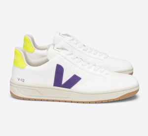 Sneaker Damen Vegan - V-12 B-Mesh - White Purple Jaune-Fluo - Veja