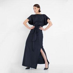 Langes Abendkleid aus schwarzer Bio-Baumwolle - Natascha von Hirschhausen