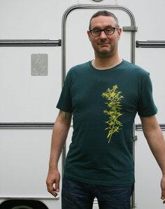 Bio- & Fair-Trade-Männershirt 'Goldraute' tannengrün - Hirschkind
