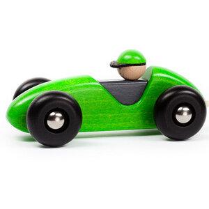 Holz-Rennwagen mit beweglicher Achse in grün - BAJO
