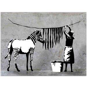 Banksy Bild Zebra Washing Wandbilder Wohnzimmer - Kunstbruder