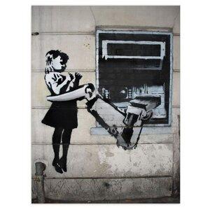 Wandbild Banksy Fenster Robot Bilder Wohnzimmer - Kunstbruder