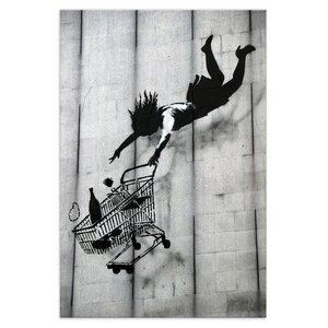 Wandbild Banksy Einkaufswagen Bilder Wohnzimmer - Kunstbruder