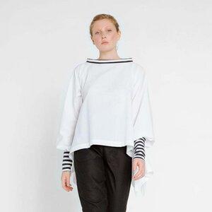 maritime Bluse aus weißer Bio-Baumwolle - Natascha von Hirschhausen