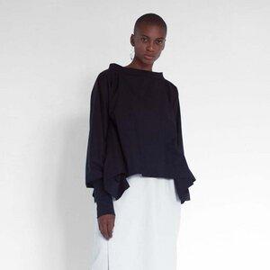 Moderne Bluse mit gerafftem Ärmel aus Bio-Baumwolle - Natascha von Hirschhausen
