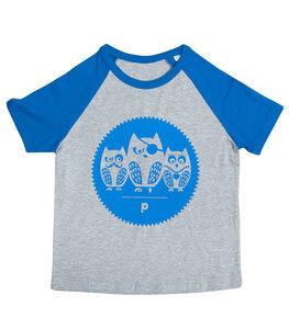 Eulen Gang - Fair Wear Bio Kinder Baseball T-Shirt - grau/blau - päfjes