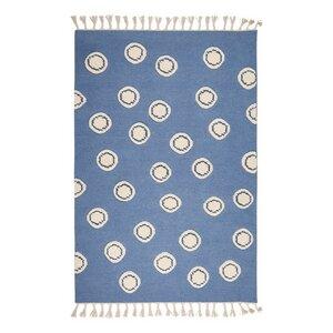Schurwoll Teppich Happy Rugs RING blau/natur + gratis Anti-Rutschunterlage - Livone