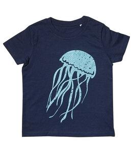 Glitzer Qualle - Fair Wear Kinder Bio T-Shirt - Navyblau - päfjes