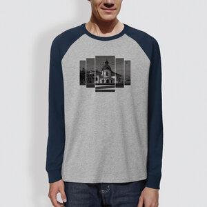 "Männer Langarm-T-Shirt, ""Ballhaus"", Heather Grey/Navy - little kiwi"