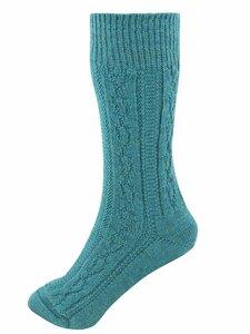 Damen und Herren Zopfstrick-Socke Bio-Wolle - hirsch natur