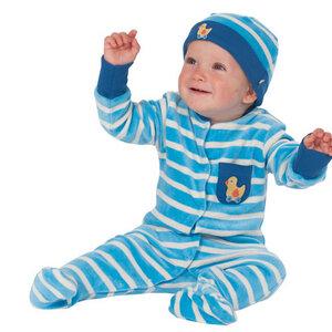 Blau-weißes Stramplerset (Strampler + Mütze) aus Nicky - Frugi