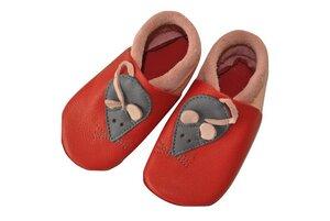 Baby Krabbelschuhe Minni rosa/rot ökologisch - Pololo