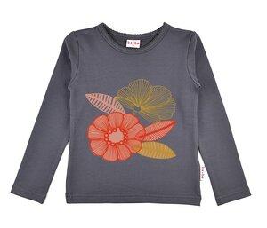 Baba Babywear Langarm Shirt longsleeve Blumen grau - Baba Babywear