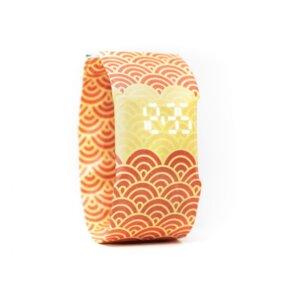 Armband Uhr - Halbkreise Orange Rot - paprcuts