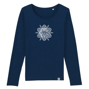 Longsleeve W - Yin Yang-Sonne - Siebdruck - black heather blue - Sacred Designs