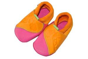 Baby Krabbelschuhe Giraffe gelb/pink ökologisch - Pololo
