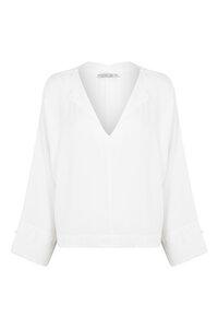 Bluse mit Schlitzkragen aus EcoVero Viscose - Shima Antique White - Weiß - Suite 13