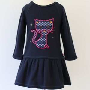 Sweatshirt-Kleid mit Katzenapplikation, Biobaumwolle - Enfant Terrible