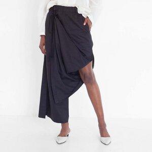 drapierte Hose aus schwarzer Bio-Baumwolle - Natascha von Hirschhausen
