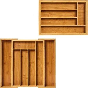 Besteckkasten aus Bambus für Schubladen größenverstellbar - ausziehbare Schubfacheinlage - Bambuswald