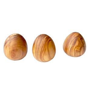3er Set EGGS – 3 Deko-Eier aus Olivenholz - Olivenholz erleben
