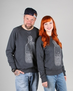 BUDDELSCHIFF UNISEX SWEATER DARK HEATHER GREY - HAFENDIEB
