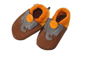 Baby Krabbelschuhe Jonathan braun/gelb ökologisch - Pololo