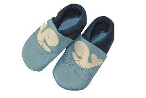 Baby Krabbelschuhe Wal Moby blau ökologisch - Pololo