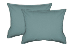 2er Pack Kissenbezug in Stone-Washed Optik 100% Bio-Baumwolle Uni Made in Green 45x45cm 50x50cm - jilda-tex