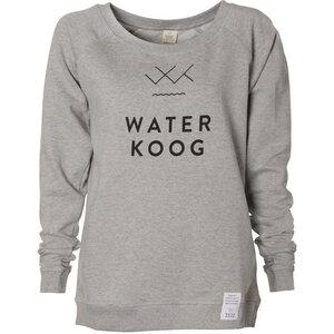 Frauen Sweatshirt WATERKOOG, grau meliert, schwarzer Print, Biobaumwolle - Waterkoog