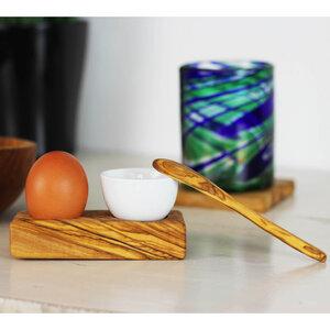 Eierhalter mit Eierbecher und Löffel Olivenholz - Mitienda Shop