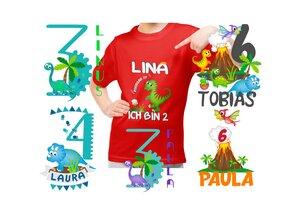 Bügelbild Applikation Aufbügler Set Dinosaurier Motive für Kinder mit Namen personalisiert - wolga-kreativ